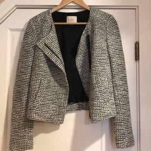 Loft black and white woven cropped blazer